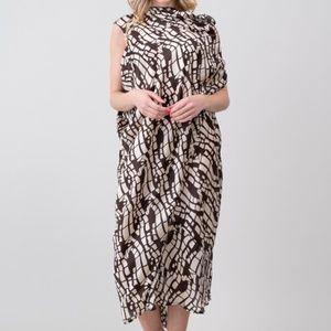 Asymmetrical Scarf Print Midi Dress